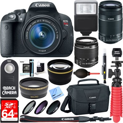 EOS Rebel T5i DSLR Camera EF-S 18-55mm & 55-250mm IS Lens + 64GB Accessory Kit
