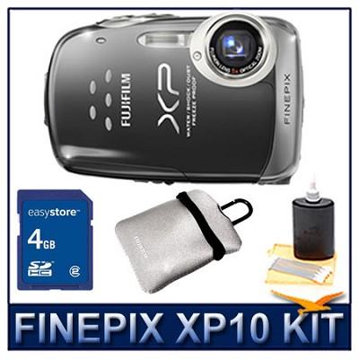 FINEPIX XP10 Black + 4GB Memory Card + Camera Case + 3pc. Lens Cleaning Kit