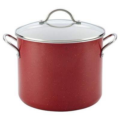 16058 New Traditions Speckled Aluminum Nonstick 12-Quart Covered Stockpot, Red