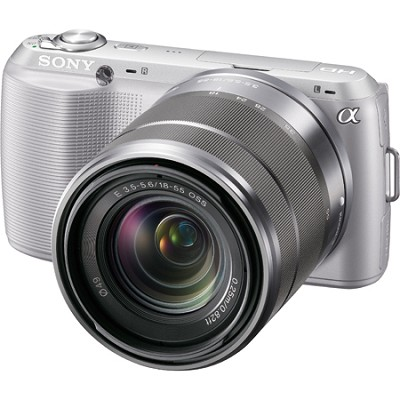 Alpha NEX-C3 Interchangeable Lens Silver Digital Camera w/ 18-55mm Lens-OPEN BOX