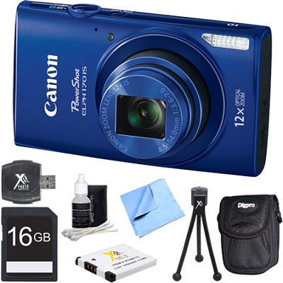 PowerShot ELPH 170 IS 20MP 12x Opt Zoom Digital Camera - Blue 16 GB Bundle