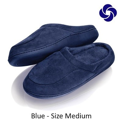 Memory Foam Slippers in Navy Blue Size Medium (M 6-7, W 8-9)