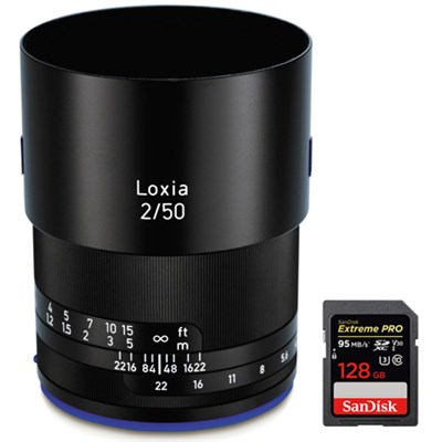 Loxia 50mm f/2 Planar T Lens for Sony E Mount w/ Sandisk 128GB Memory Card