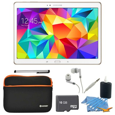 Galaxy Tab S 10.5` Tablet - (16GB, WiFi, Dazzling White) 16GB Accessory Bundle