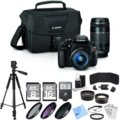 EOS Rebel T5 18MP DSLR Camera with 18-55mm + 75-300mm Premium Bundle