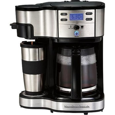Two Way Brewer Single Serve and 12 Cup Coffee Maker - Factory Refurbished