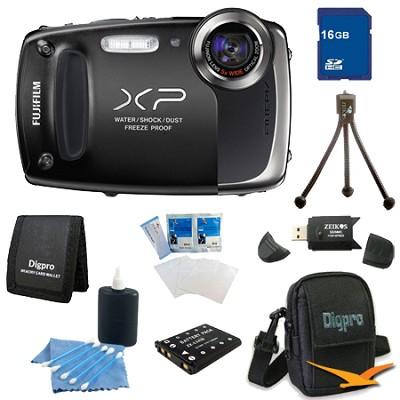 Finepix XP50 14MP CMOS Digital Camera 16 GB Bundle (Black)