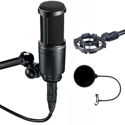 Side Address Cardioid Condenser Studio Microphone - AT2020 w/ Shock Mount Bundle