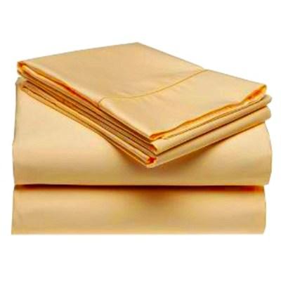 400 Thread Cotton Rich Sateen Solid Sheet Set - Gold (Queen) - OPEN BOX