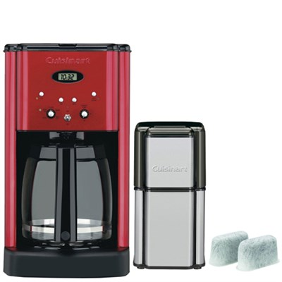 Brew Central 12-Cup Programmable Refurb Red Coffeemaker w/ Refurbished Bundle