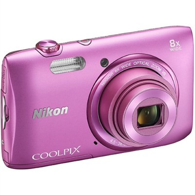 COOLPIX S3600 20.1MP 2.7` LCD Digital Camera with HD Video (Pink) REFURBISHED