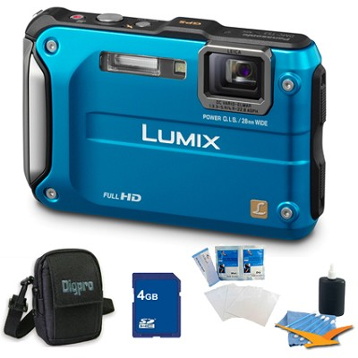 Lumix DMC-TS3 Blue Shockproof Freezeproof Dustproof Camera 4GB Bundle