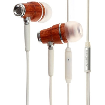 NRG Premium Genuine Wood In-ear Noise-isolating Headphones with Mic (White)