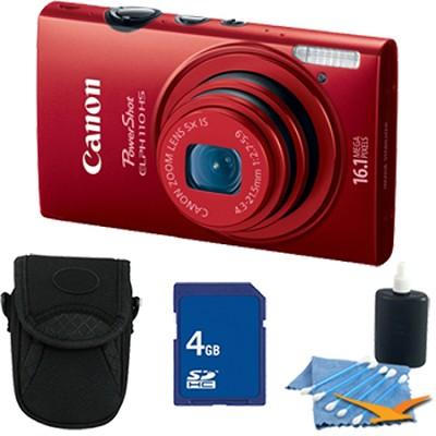 PowerShot ELPH 110 HS 16.1MP Red Digital Camera 5x Zoom HD Video 4 GB Bundle