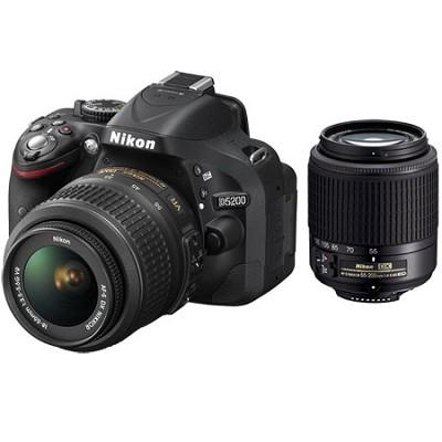 D5200 24.1 MP DSLR Camera w/ 18-55mm & 55-200mm Lens Kit - Factory Refurbished