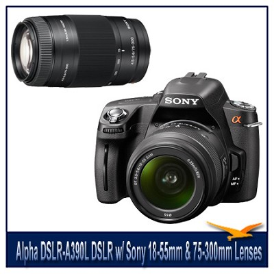 Alpha DSLR-A390L 14.2 MP DSLR Kit w/ Sony 18-55mm Lens & 75-300mm f/4.5-5.6 Lens