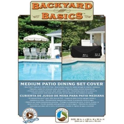 96-Inch Medium Patio Dining Set Cover( LX65in WX30in H 244cmX165cmX76cm) Black