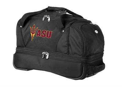 22-Inch Drop Bottom Rolling Duffel Luggage, Black - Arizona State Sun Devils