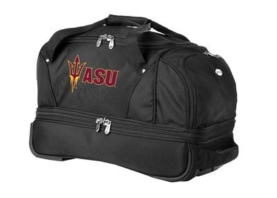 22-Inch Drop Bottom Rolling Duffel Luggage, Black - Arizona State Sun Devils