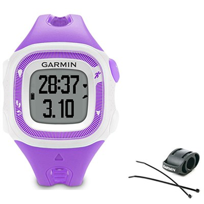 Forerunner 15 Heart Rate Monitor Bundle Small - Violet/White + Bike Mount Kit