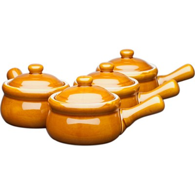 Ceramic Onion-Soup Crock with Lid, Set of 4 - OPEN BOX