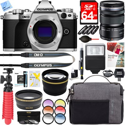 OM-D E-M5 Mark II Mirrorless Silver Digital Camera + 12-50mm Lens Accessory Kit