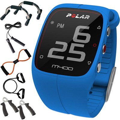 M400 GPS Smart Sports Watch, Blue + 7-in-1 Fitness Kit