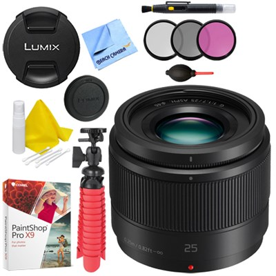 Lumix G 25mm f/1.7 ASPH. Lens (Black) - H-H025K with Accessories Bundle