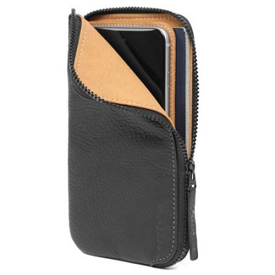 Leather Zip Wallet for iPhone 6 Plus - Black
