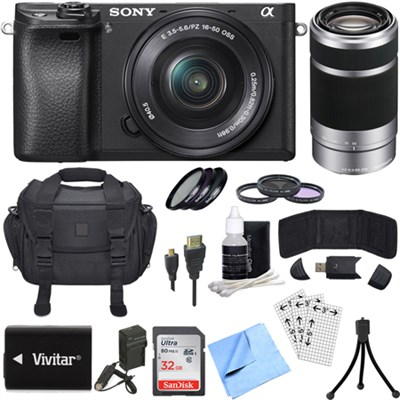 ILCE-6300 a6300 4K Mirrorless Camera w/ 16-50mm + 55-210mm Zoom Lens Bundle