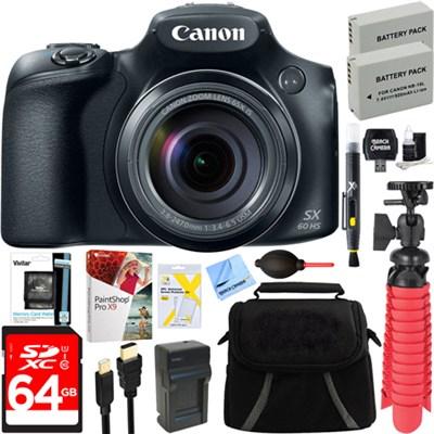PowerShot SX60 HS Wide Angle Lens Digital Camera + Spare Battery & Accessory Kit
