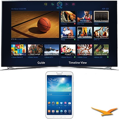 UN65F8000 - 65` 1080p 240hz 3D Smart Wifi LED HDTV - 8-Inch Galaxy Tab 3 Bundle