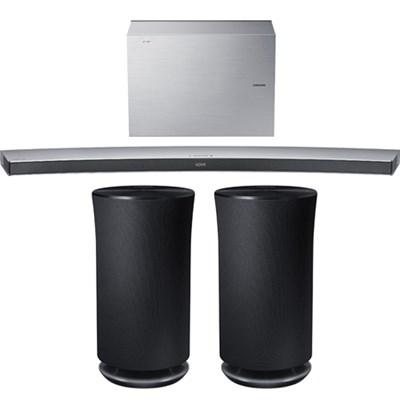 4.1 Channel Curved Wireless Soundbar White w/ 2x Radiant R3 Bluetooth Speaker