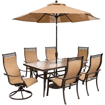 Monaco 7-Piece Dining Set with 9-Ft. Table Umbrella - MONACO7PCSW-SU