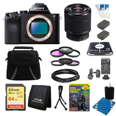 Alpha 7 a7 Full-Frame Interchangeable Lens Digital Camera 28-70mm Lens Bundle