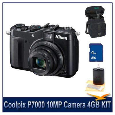 Coolpix P7000 10MP Camera 4GB Bundle w/ Case and Cleaning Kit