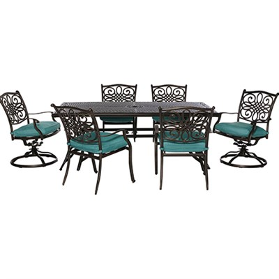 Traditions 7pc Dining Set (4 dining 2 swivel chairs 38x72  Alum table)