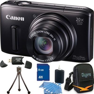PowerShot SX260 HS Black Digital Camera 8GB Bundle