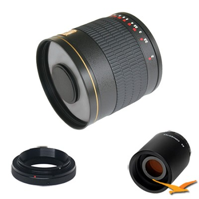 800mm F8.0 Mirror Lens for Nikon 1 w/ 2x Multiplier (Black) 800M-B