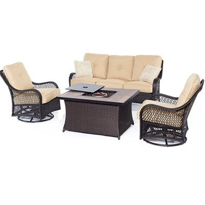 Orleans 4-Piece Woven Fire Pit Set in Sahara Sand - ORLEANS4PCFP-TAN-A