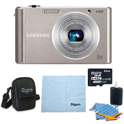 4 GB Bundle ST76 16 MP 5X Compact Digital Camera - Silver