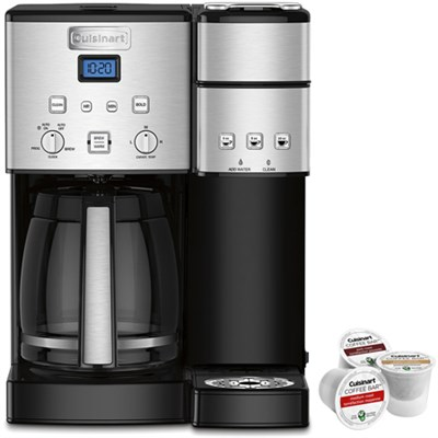 12-Cup Coffee Maker and Single-Serve Brewer Stainless Steel+K-Cup Pack