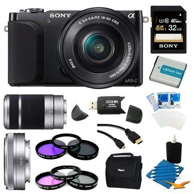 NEX-3NL Black Digital Camera 16-50mm Lens 32GB with 2 Lens Bundle