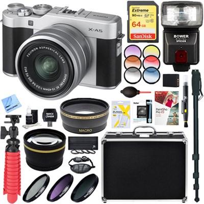 X-A5 Mirrorless Digital Camera 15-45mm Lens Silver + 64GB Memory & Flash Kit