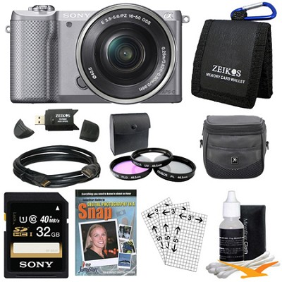 a5000 Compact Interchangeable Lens Camera Silver 16-50mm Power Zoom Lens Bundle