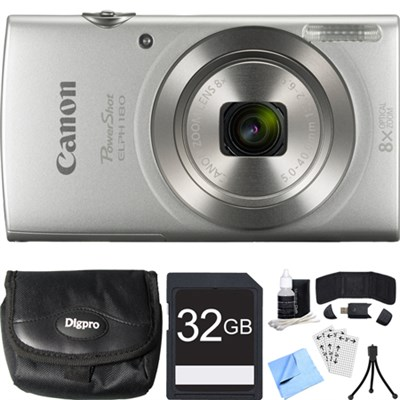 PowerShot ELPH 180 20MP 8x Optical Zoom Silver Digital Camera 32GB Card Bundle