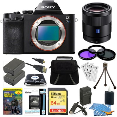 ILCE-7S/B a7S Full Frame Camera, 55mm Lens, 64GB SDXC Card, 2 Batteries Bundle