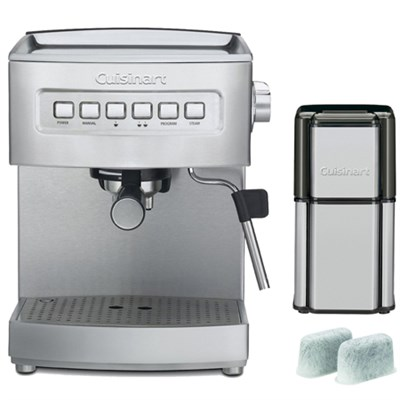 Programmable 15-Bar Refurb Espresso Maker, Stainless Steel w/ Refurbished Bundle