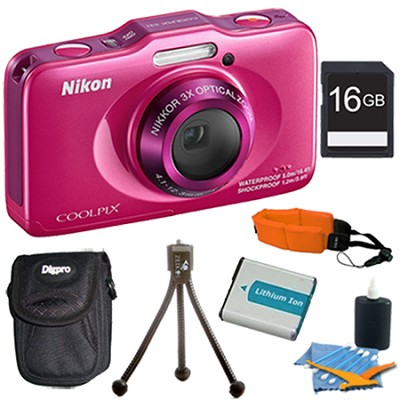 COOLPIX S31 10.1MP 720p HD Video Waterproof Digital Camera - Pink Plus 16GB Kit