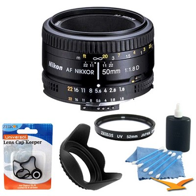 50mm F/1.8 D AF FS-52 Lens w/ Filter, Lens Hood & Cleaning kit